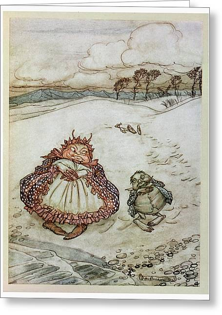 The Crab And His Mother, Illustration From Aesops Fables, Published By Heinemann, 1912 Colour Litho Greeting Card by Arthur Rackham