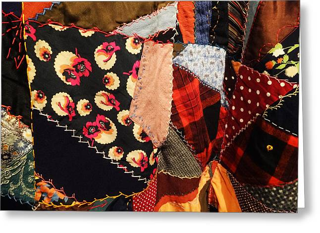 The Crazy Quilt Greeting Card by Jacqueline  DiAnne Wasson