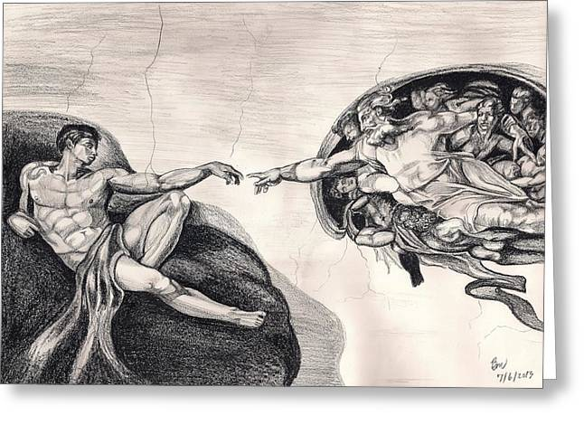 The Creation Of Adam A Redraw Greeting Card by Beverly Marshall
