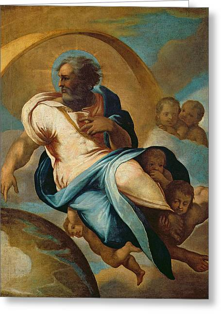The Creation Of The World Oil On Canvas Greeting Card by Eustache Le Sueur