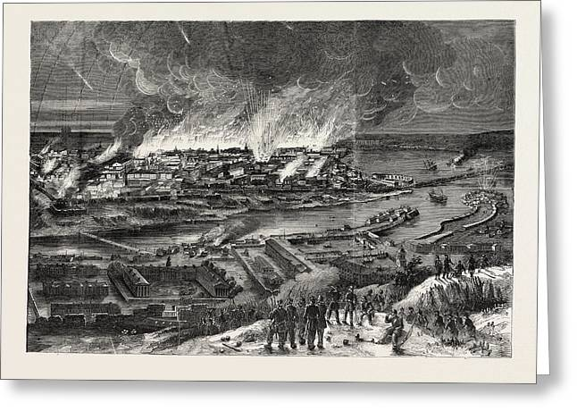 The Crimean War Conflagration Of Sebastopol Greeting Card by English School
