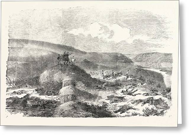 The Crimean War Sandbag Battery Defended By The Guards Greeting Card