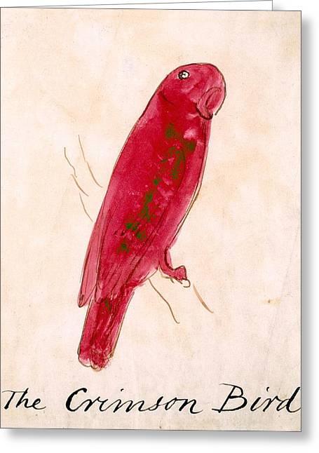 The Crimson Bird Greeting Card by Edward Lear