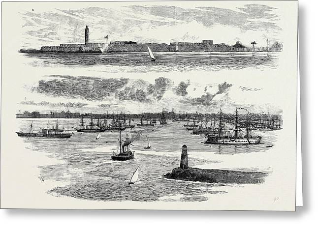 The Crisis In Egypt, A The Fortifications Of Alexandria Greeting Card by Egyptian School