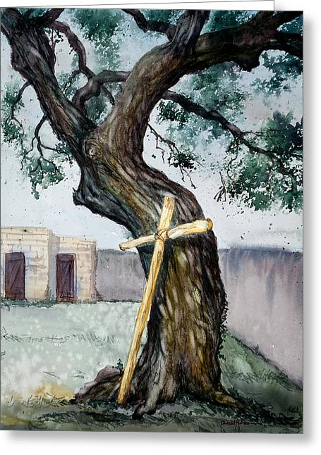 Da216 The Cross And The Tree By Daniel Adams Greeting Card