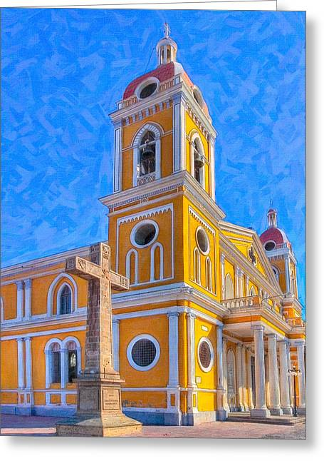 The Cross Beside The Golden Cathedral - Granada Greeting Card by Mark E Tisdale