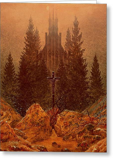 The Cross In The Mountains Greeting Card by Caspar David Friedrich