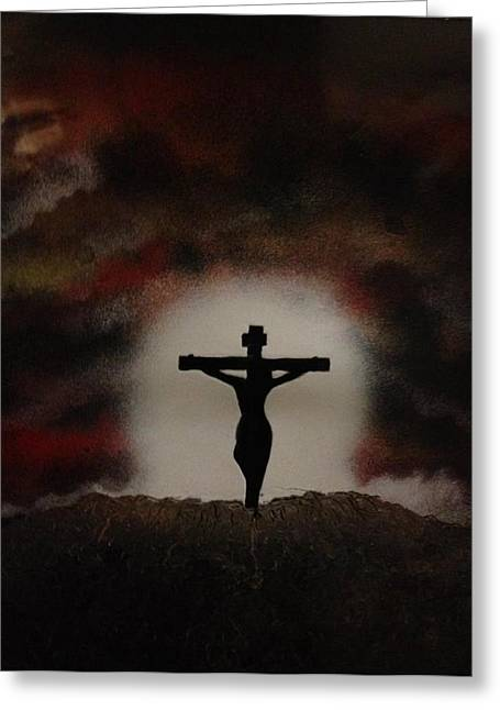 Greeting Card featuring the painting The Cross by Michael Rucker