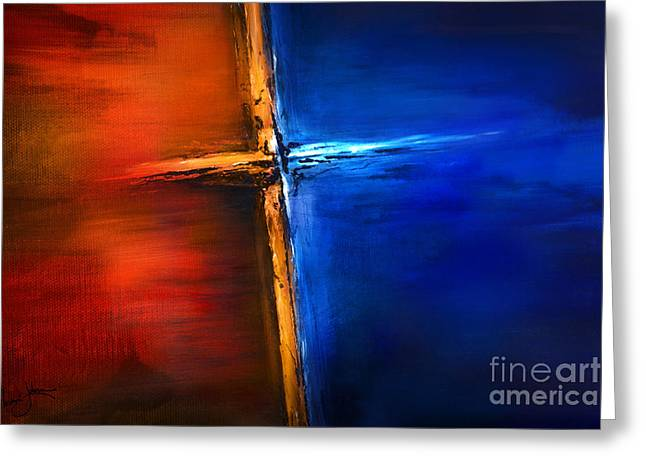 Greeting Card featuring the mixed media The Cross by Shevon Johnson
