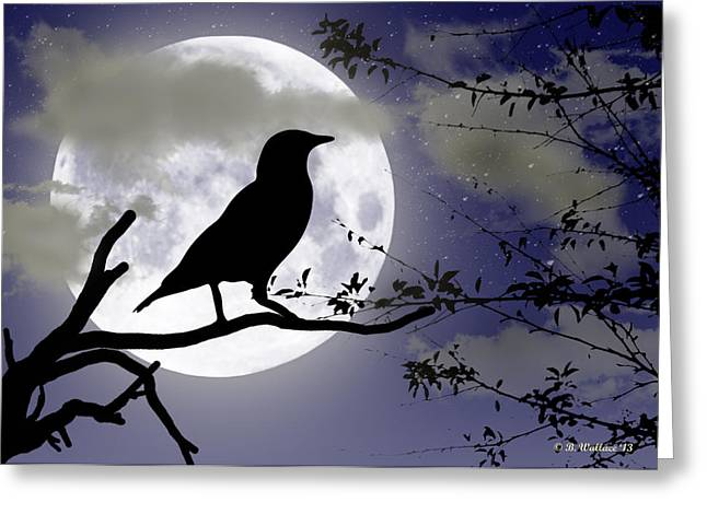 The Crow And Moon Greeting Card by Brian Wallace