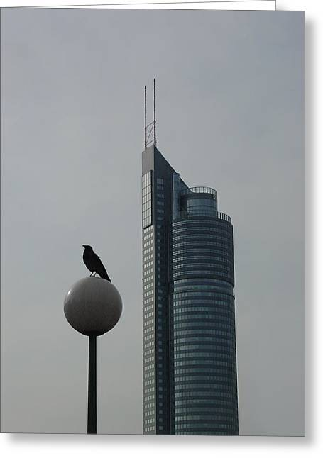 The Crow And The Milleniumtower In Winter Greeting Card