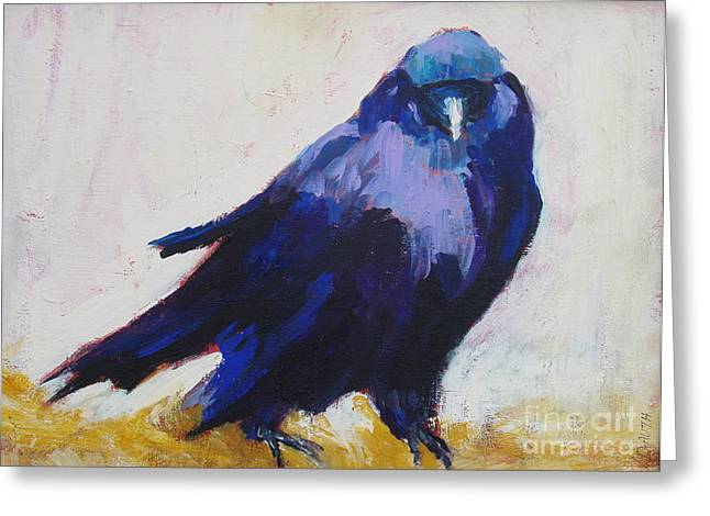 The Crow Greeting Card by Virginia Dauth