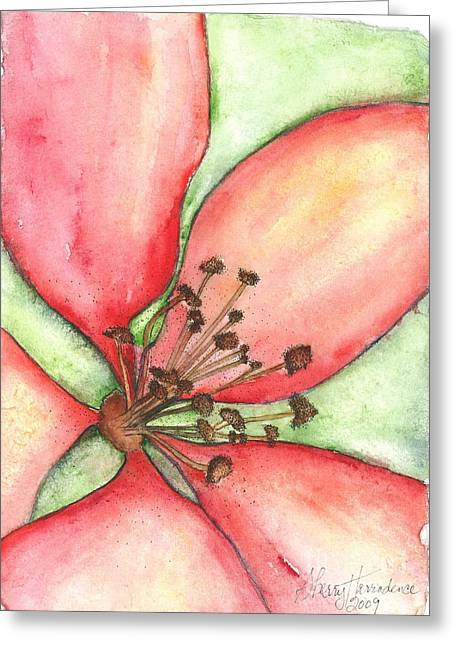 Wild Orchards Paintings Greeting Cards - The Crowd Pleaser 1 Greeting Card by Sherry Harradence