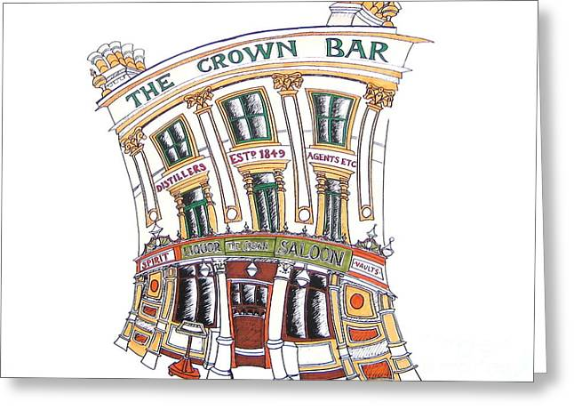The Crown Bar Belfast Greeting Card by Tanya Mai Johnston