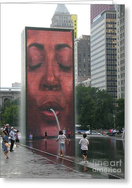 The Crown Fountain Greeting Card by Jessica Berlin