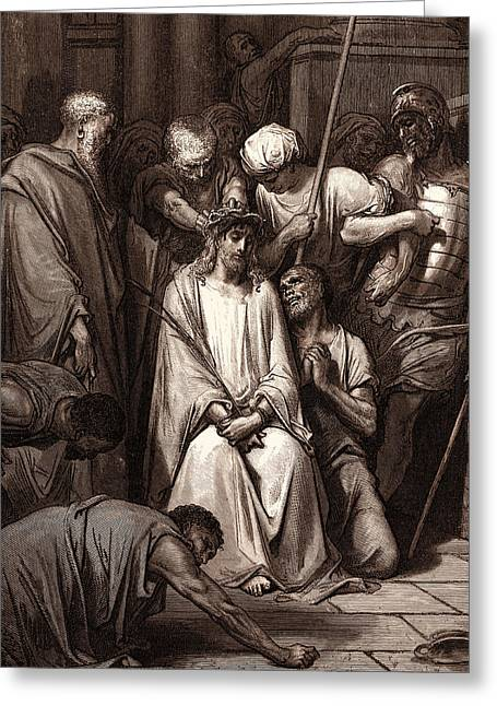 The Crown Of Thorns, By Gustave DorÉ. Dore Greeting Card
