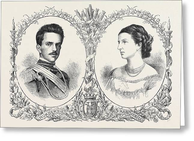 The Crown Prince Humbert Of Italy And Princess Margaret Greeting Card by Italian School