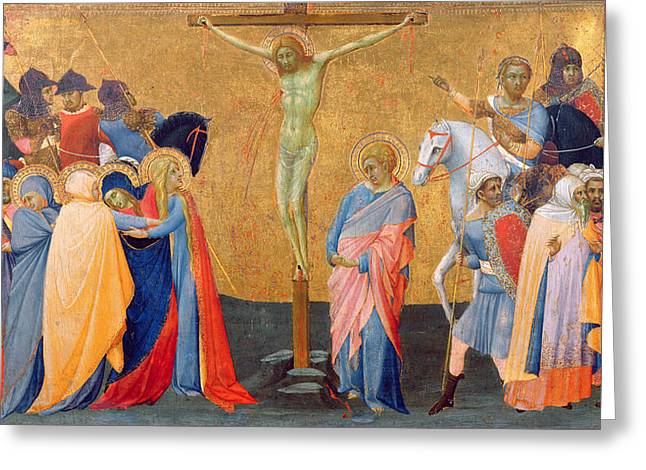 The Crucifixion Greeting Card by Master of the Madonna of San Pietro of Ovila