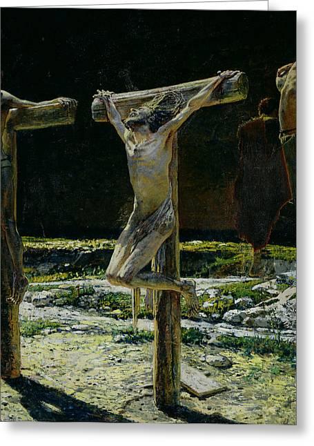 The Crucifixion Greeting Card by Nikolai Nikolaevich Gay