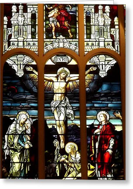 The Crucifixion Of Jesus On Good Friday Stained Glass Window Greeting Card by Rose Santuci-Sofranko