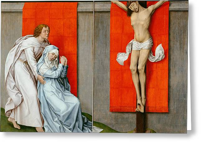 The Crucifixion With The Virgin And Saint John The Evangelist Mourning Greeting Card