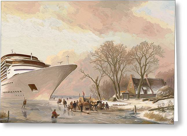 Greeting Card featuring the painting The Cruiseboat by Nop Briex