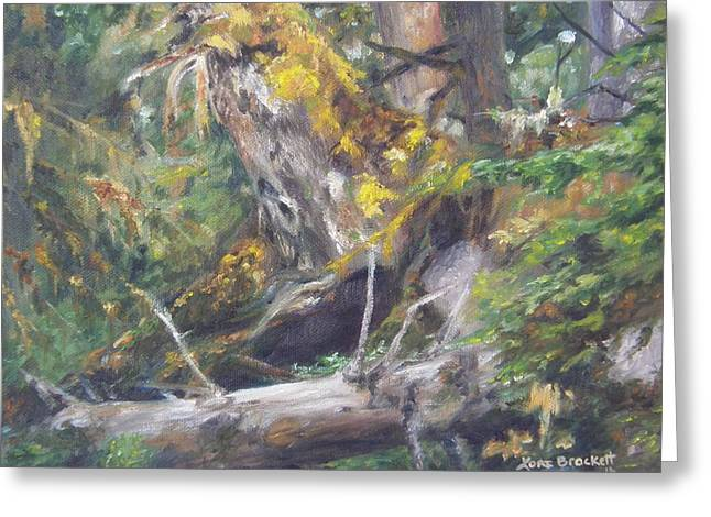Greeting Card featuring the painting The Crying Log by Lori Brackett
