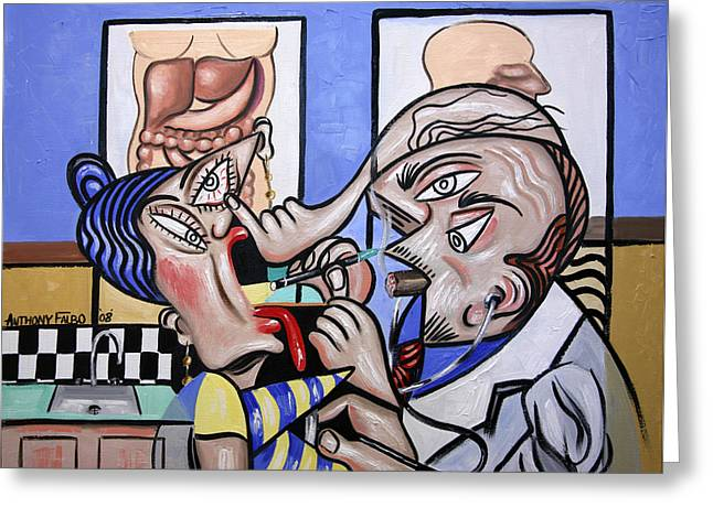The Cubist Doctor Md Greeting Card by Anthony Falbo