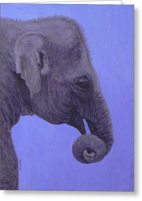 Greeting Card featuring the painting The Curled Trunk by Margaret Saheed