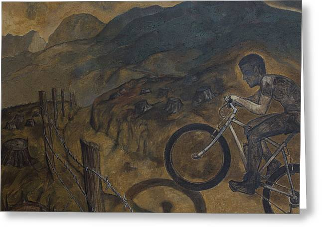 The Cyclist Greeting Card by Fernando Alvarez