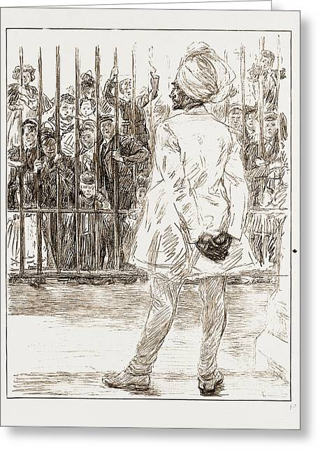The Cynosure Of All Eyes A Scene At Chelsea Barracks Greeting Card