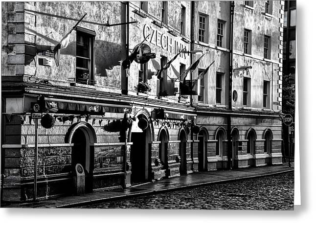 The Czech Inn - Dublin Ireland In Black And White Greeting Card by Bill Cannon