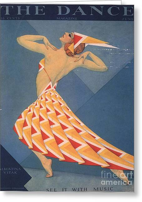 The Dance 1920s Usa Art Deco Magazines Greeting Card by The Advertising Archives