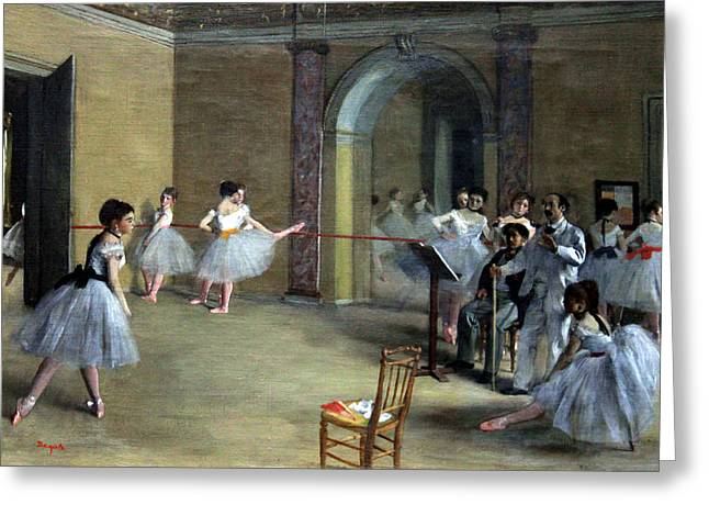 The Dance Foyer At The Opera On The Rue Le Peletier Greeting Card