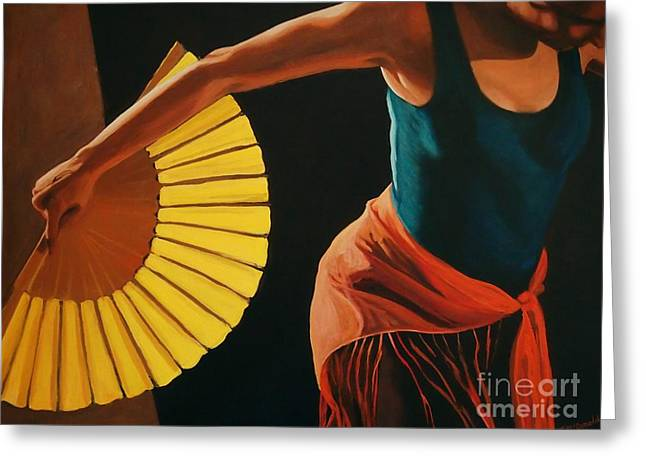 Greeting Card featuring the painting The Dance by Janet McDonald