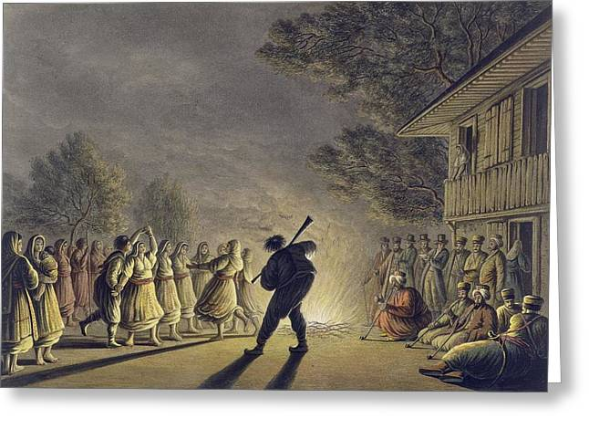 The Dance Of The Bulgarian Peasants Greeting Card by Luigi Mayer