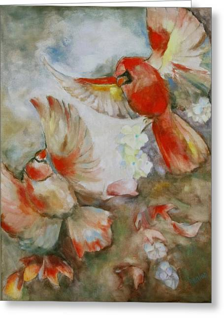 The Dance Of The Cardinals Greeting Card by Susan Hanlon