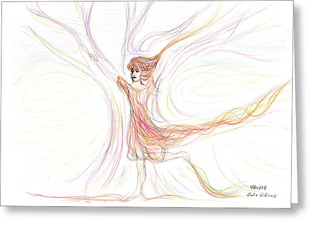 Greeting Card featuring the drawing The Dancer by Lula Adams