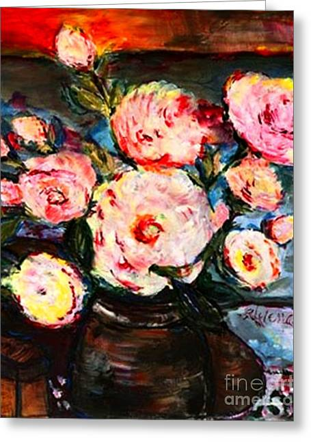 Greeting Card featuring the painting The Dancer's Peonies by Helena Bebirian