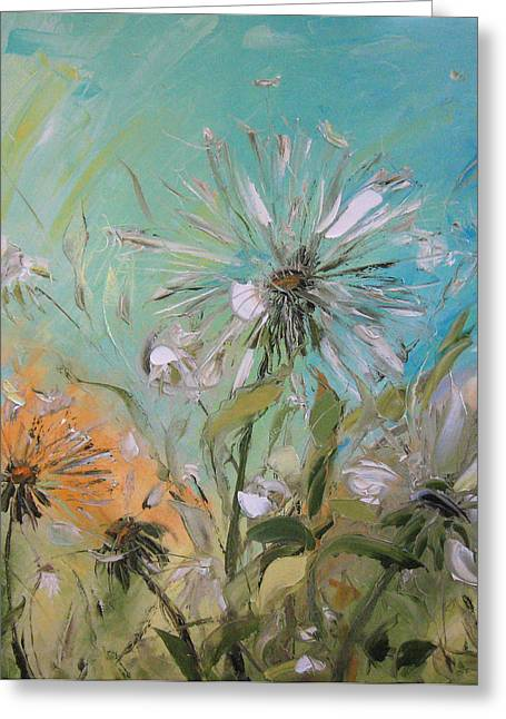 The Dandelions Greeting Card by Solomoon Art Studio