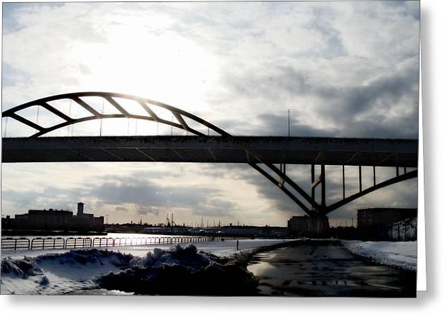 The Daniel Hoan Memorial Bridge Greeting Card by David Blank