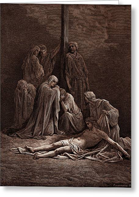 The Dead Christ, By Gustave Dore, 1832 - 1883 Greeting Card