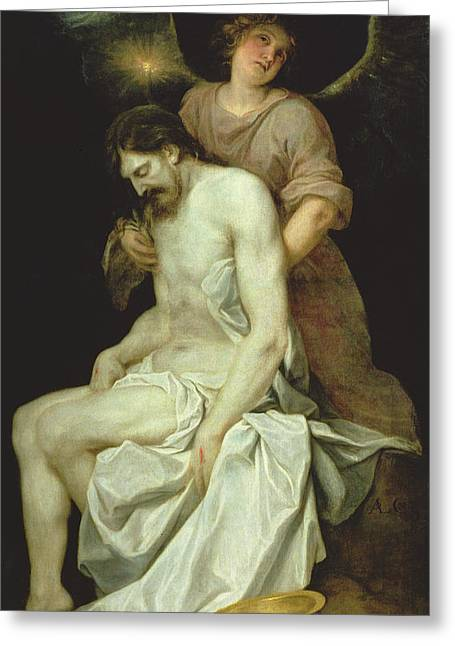The Dead Christ Supported By An Angel Greeting Card