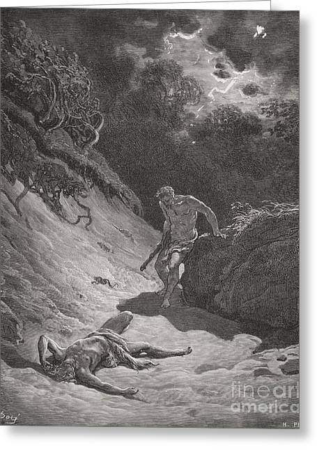 The Death Of Abel Greeting Card by Gustave Dore