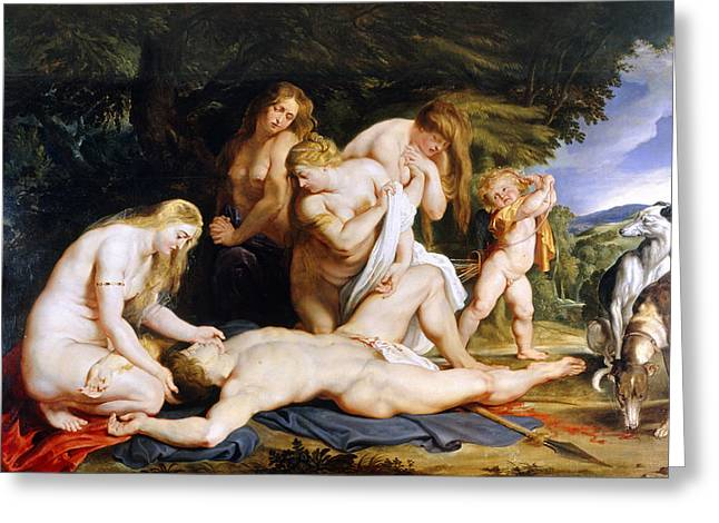 The Death Of Adonis C.1614 Greeting Card by Peter Paul Rubens