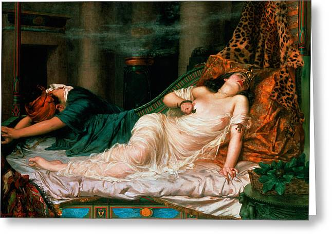 The Death Of Cleopatra Greeting Card by Reginald Arthur