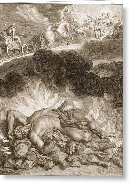 The Death Of Hercules, 1731 Greeting Card by Bernard Picart