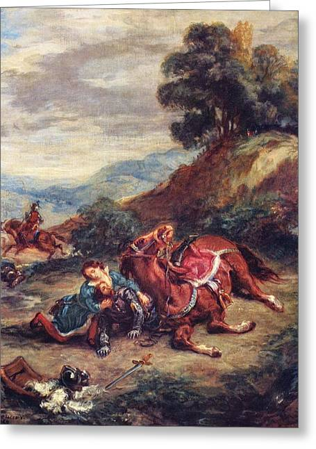 The Death Of Laras Greeting Card by Eugene Delacroix