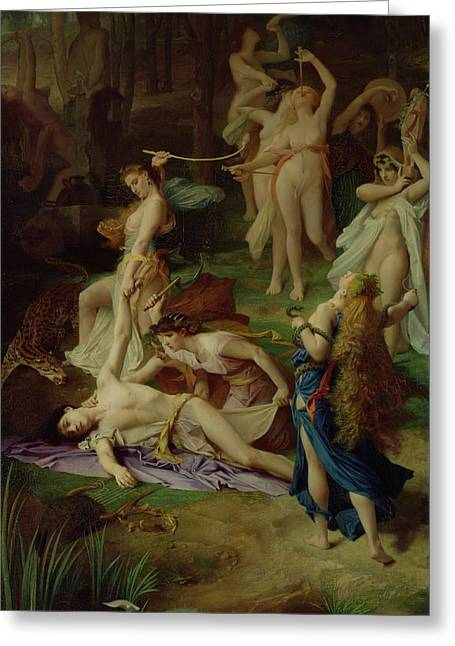 The Death Of Orpheus Greeting Card by Emile Levy