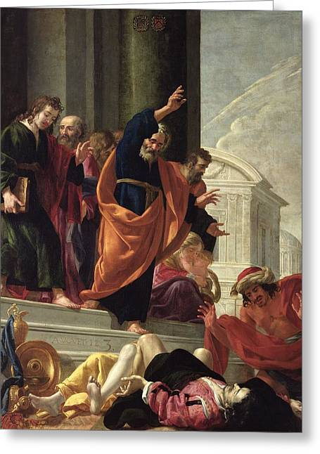 The Death Of Sapphira And Ananias, C.1632 Oil On Canvas Greeting Card